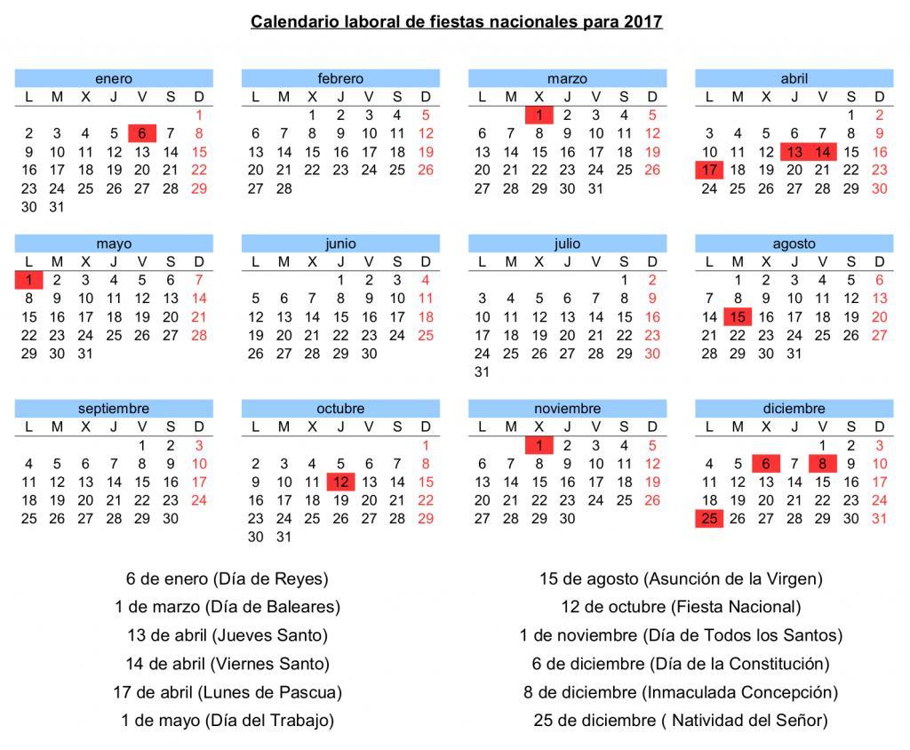 El calendario laboral para 2017 contar con 12 d as for Calendario eventos madrid