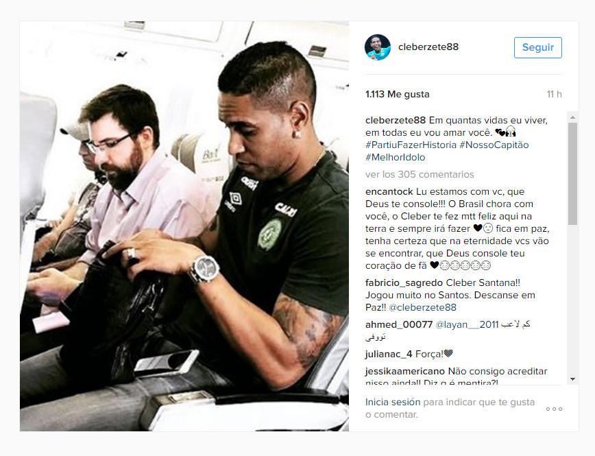 Publicación en Instagram de Cléber Santana