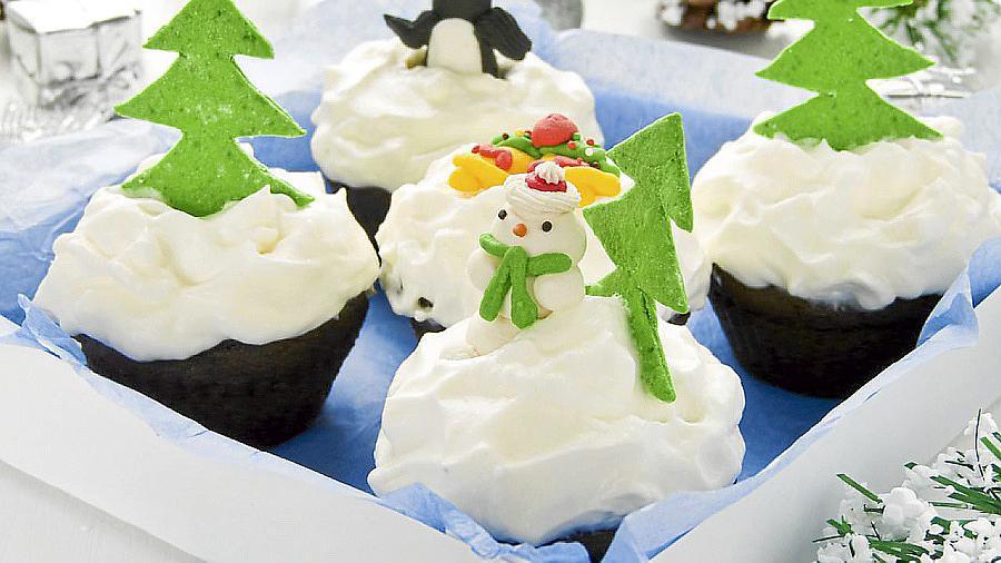 'Cupcake' con muñeco de nieve