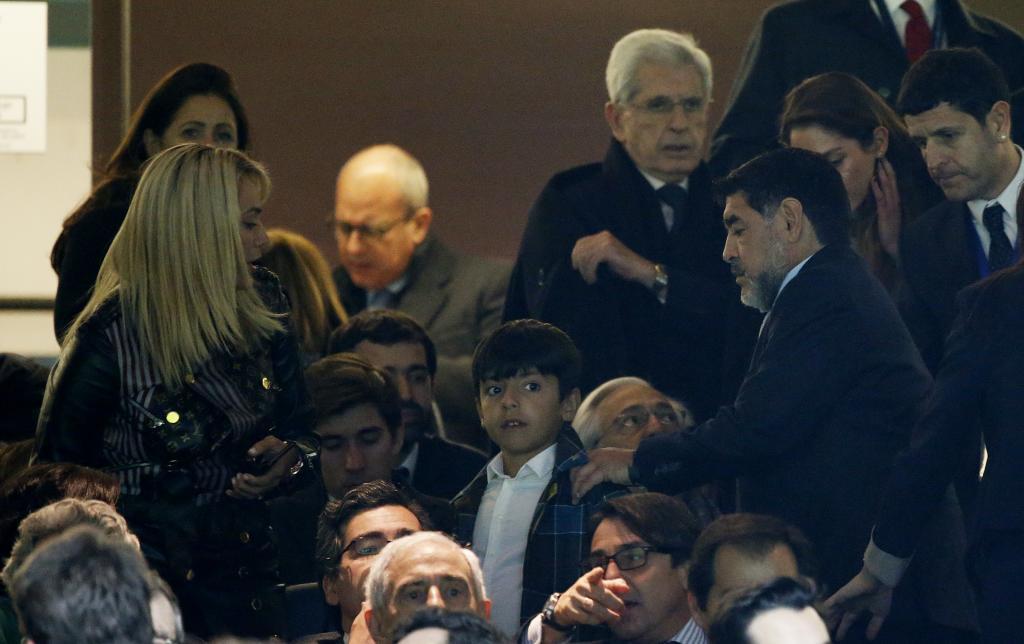 Maradona en el pártido Real Madrid-Nápoles.