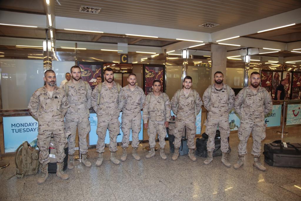 Los soldados a su llegada a Palma.