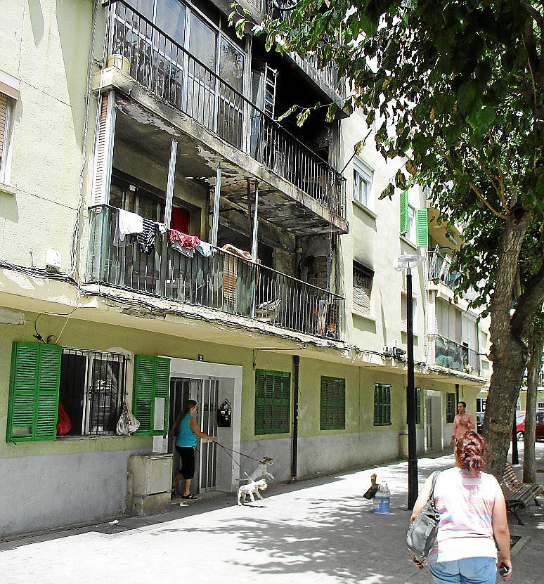 Estado del edificio tras el incendio.