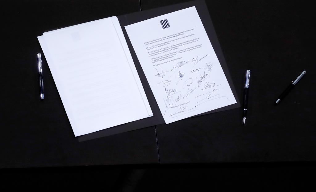 A declaration of independence is seen after it was signed by members of the Catalan regional government at the Catalan regional