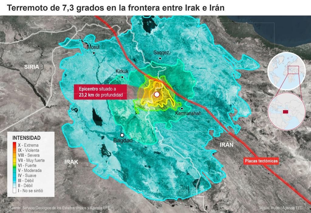 Infografía sobre terremoto entre Irak e Irán