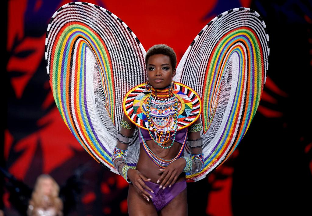 Model Maria Borges presents a creation during the 2017 Victoria's Secret Fashion Show in Shanghai