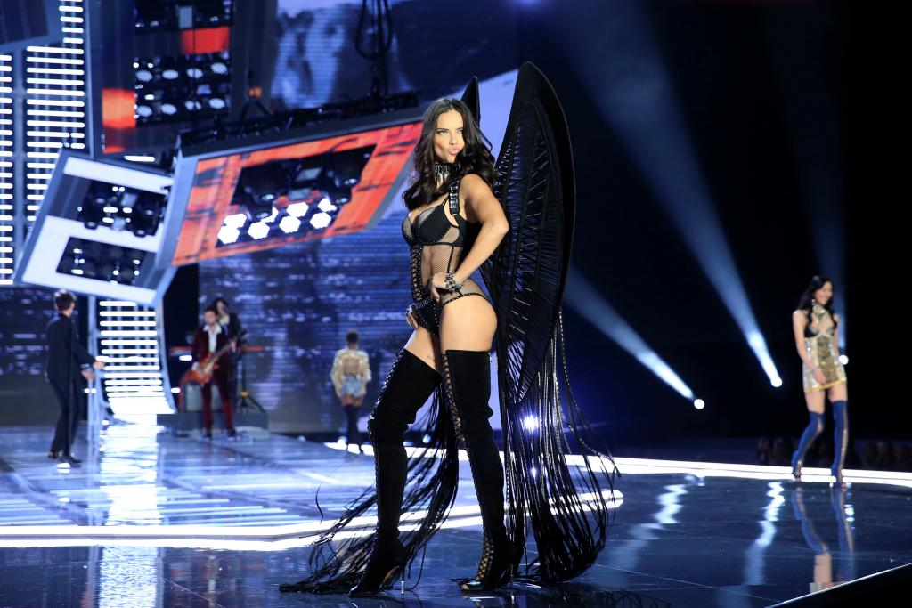 Model Adriana Lima presents a creation during the dress rehearsal for the 2017 Victoria's Secret Fashion Show in Shanghai