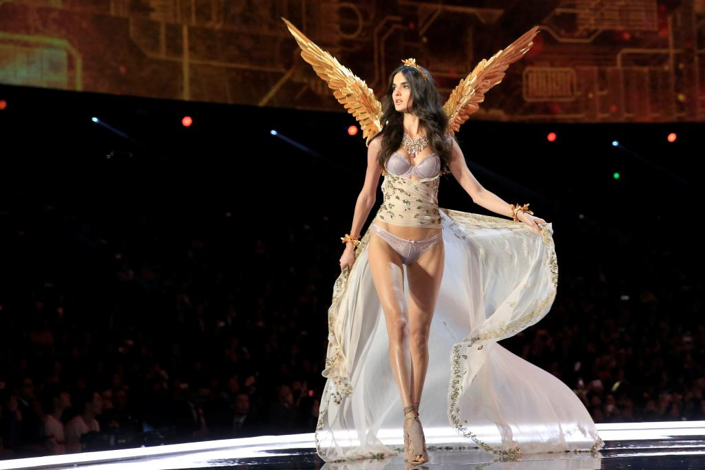 Model Blanca Padilla presents a creation during the 2017 Victoria's Secret Fashion Show in Shanghai