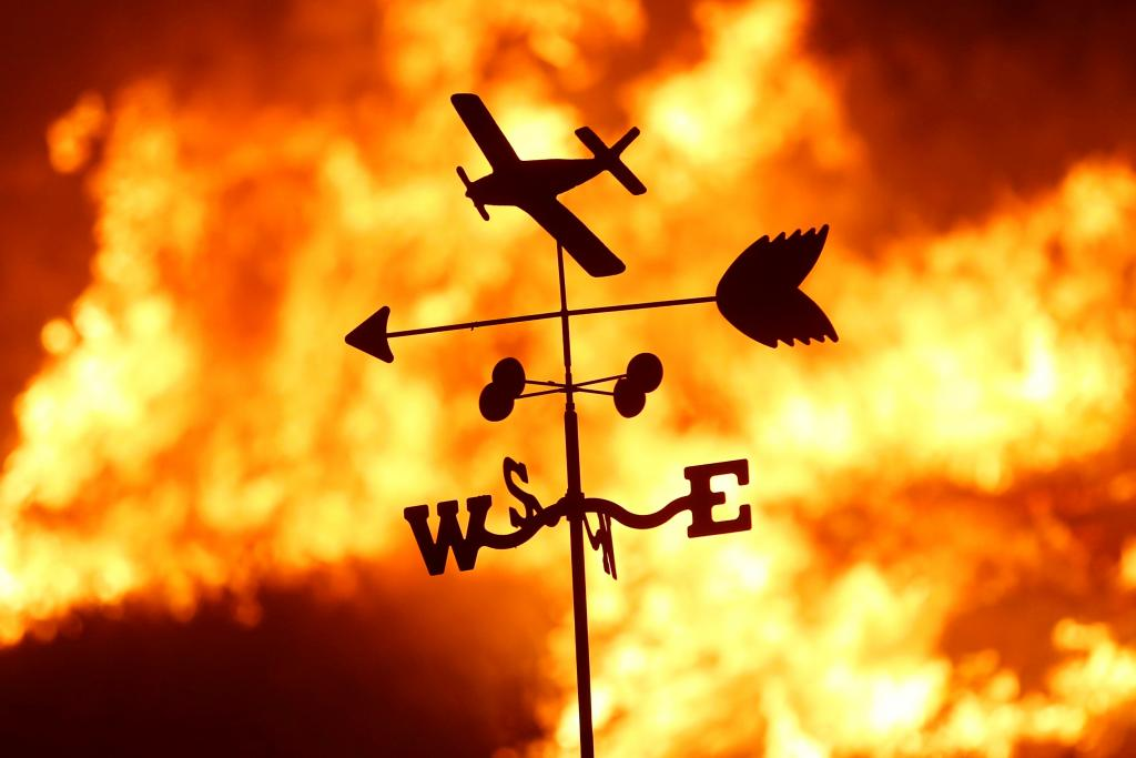 A weather vane is pictured on a ranch during the Creek Fire in the San Fernando Valley north of Los Angeles, in Sylmar, Californ
