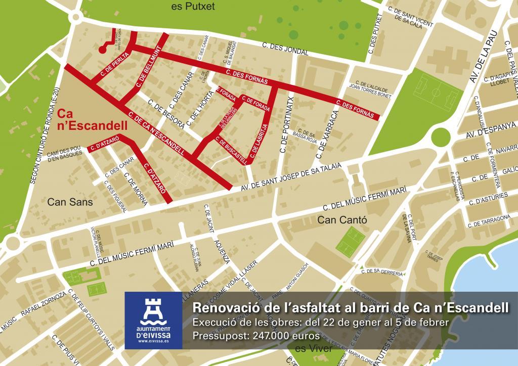 Vila asfaltará nueve calles del barrio de Ca n'Escandell a partir del 22 de enero