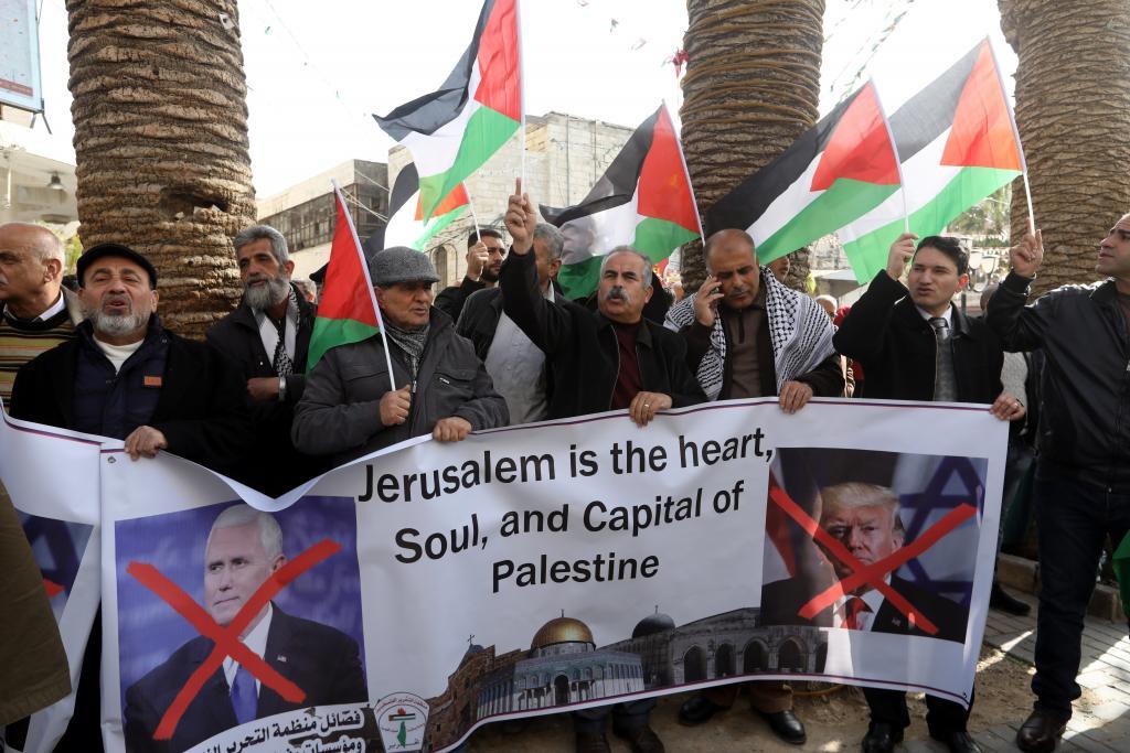 PROTESTAS POR LA VISITA DE MIKE PENCE A ISRAEL EN NABLUS