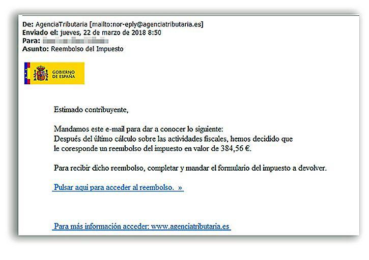 Imagen del correo que reciben algunos contribuyentes, que la Agencia dice que son falsos y que solo buscan datos bancarios de contribuyentes.