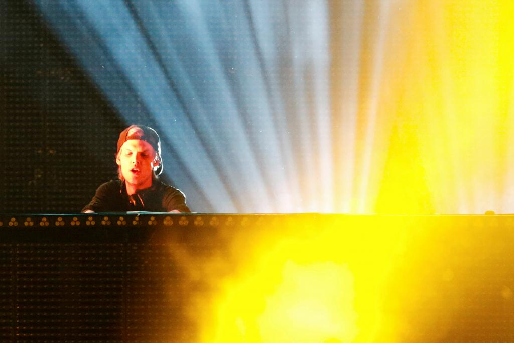 FILE PHOTO: DJ Avicii performs during a concert at Brooklyn's Barclay's Center in New York