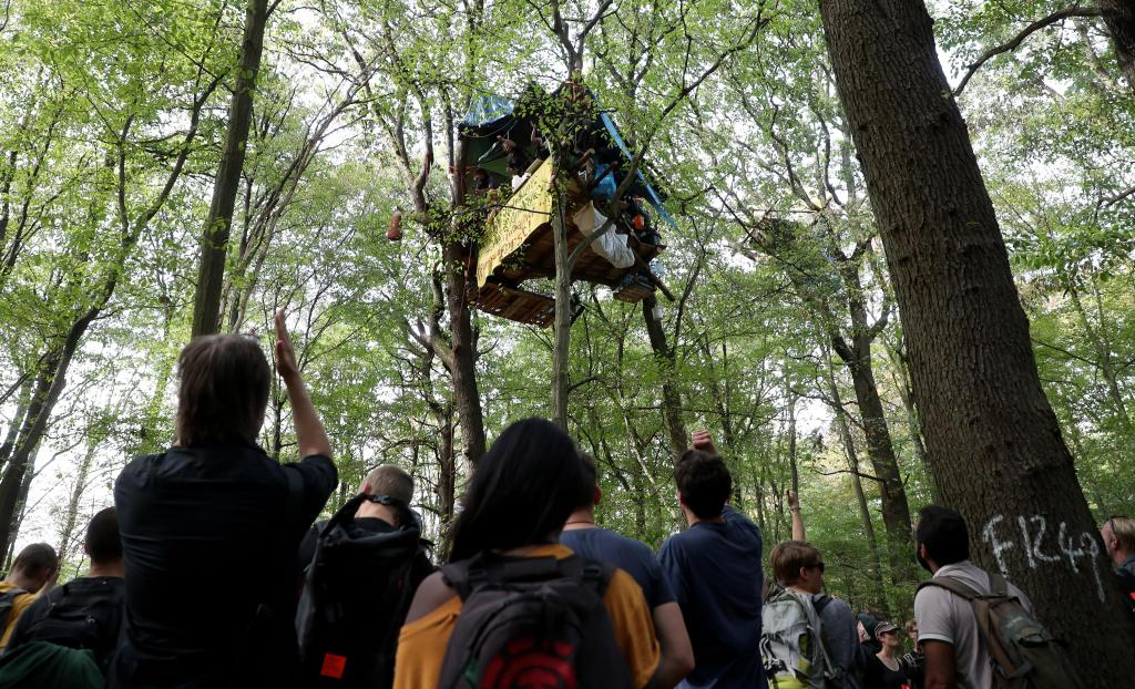 Clearing activists camp at forest Hambacher Forst in Kerpen