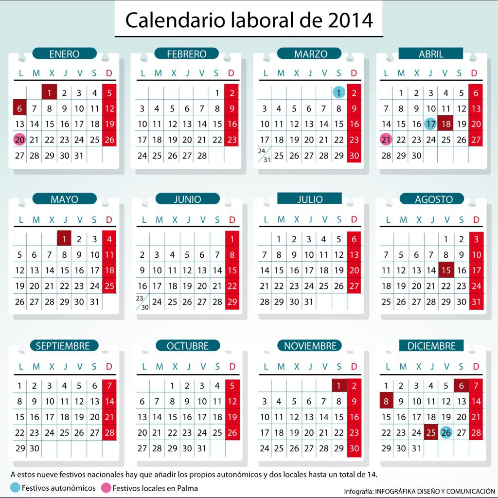 El calendario laboral para 2014 recoge nueve fiestas for Calendario eventos madrid