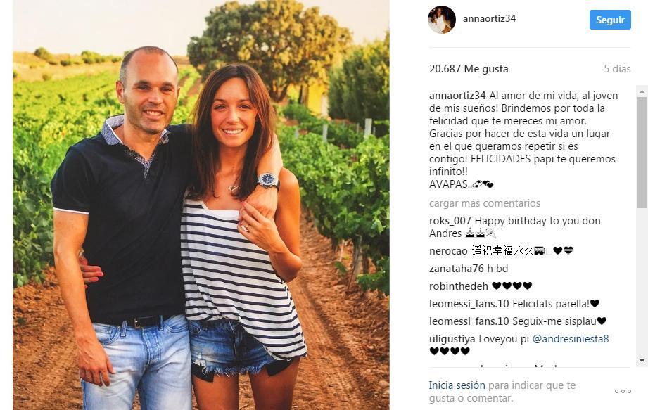 Andrés Iniesta y Anna Ortiz han sido padres de Siena