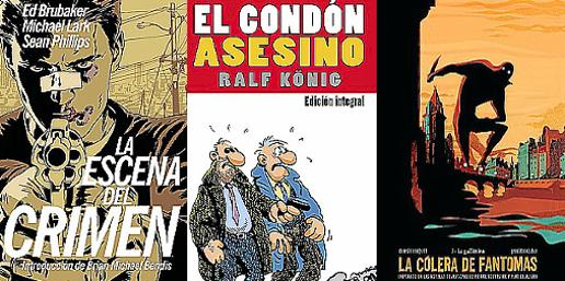 Portadas de los cómics 'El condón asesino', 'La escema del crimen' y 'La cólera de Fantomas...'