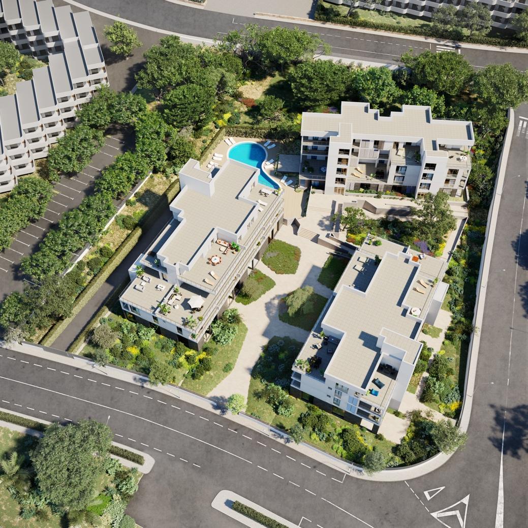 Imagen aérea de Pinzons 3, los apartamentos de lujo en Palmanova - Film Houses