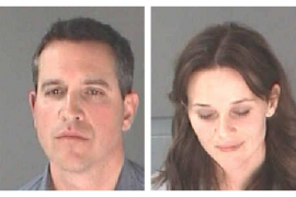 A combination photo shows Reese Witherspoon and her husband James Toth after their arrest in Atlanta