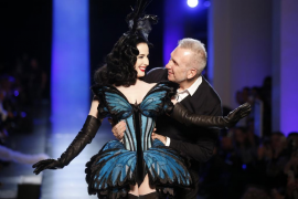 French designer Jean-Paul Gaultier and burlesque star Dita Von Teese appear at the end of hisHaute Couture Spring/Summer 2014 fa