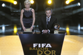 FIFA World Coach of the Year winners Neid of Germany and Mourinho of Portugal speak during FIFA Ballon d'Or 2010 soccer awards c